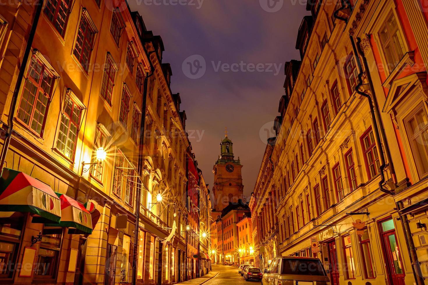 Stockholm in der Nacht foto