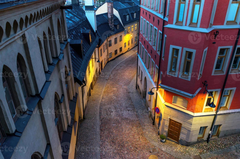 kleine Straße in Stockholm foto
