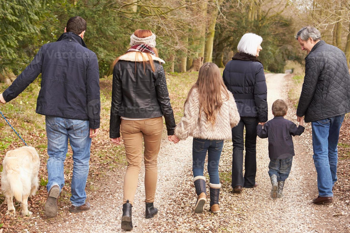 Rückansicht der Mehrgenerationenfamilie auf dem Landspaziergang foto