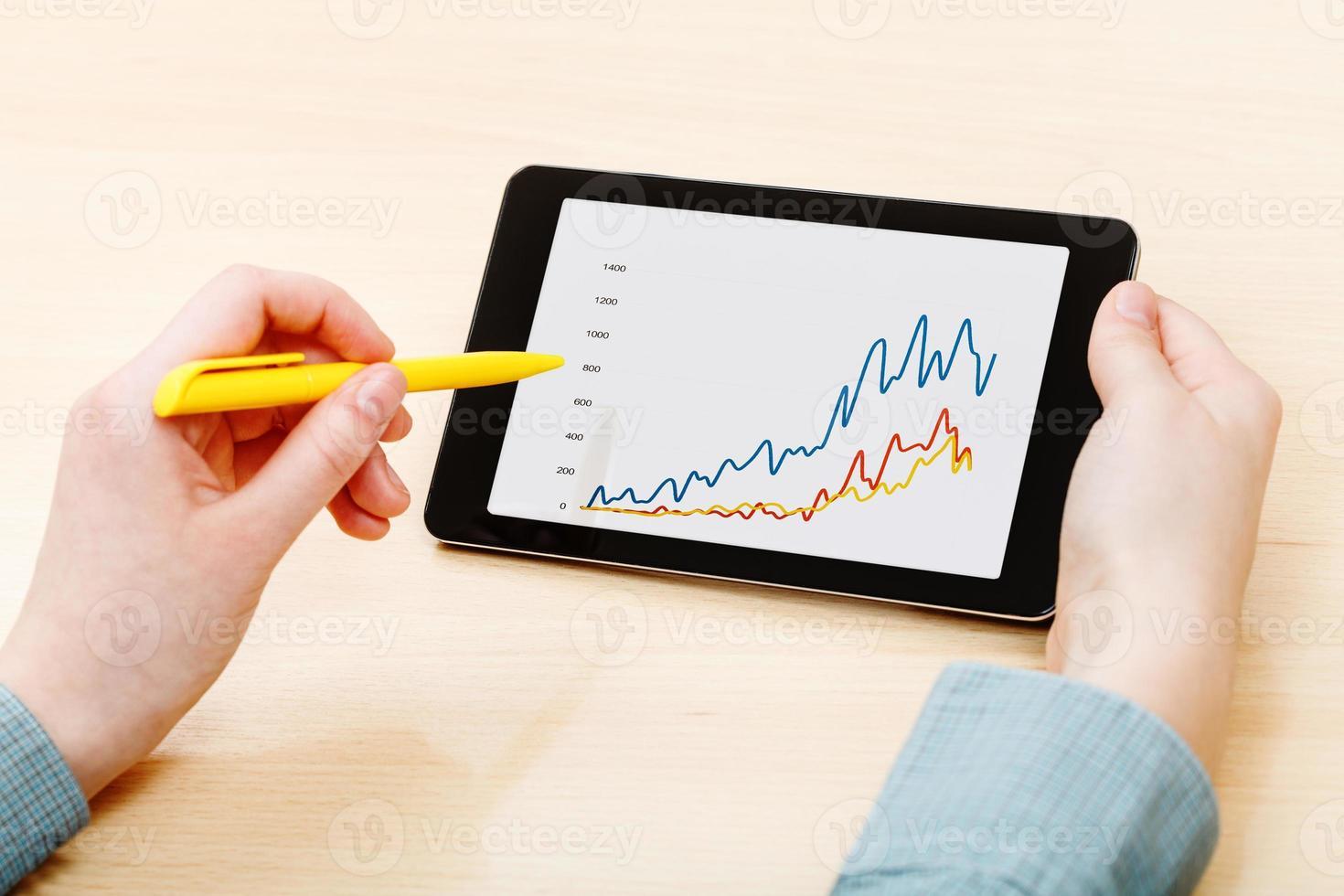 Mann berührt durch Stift der Tablette mit Grafik auf dem Bildschirm foto