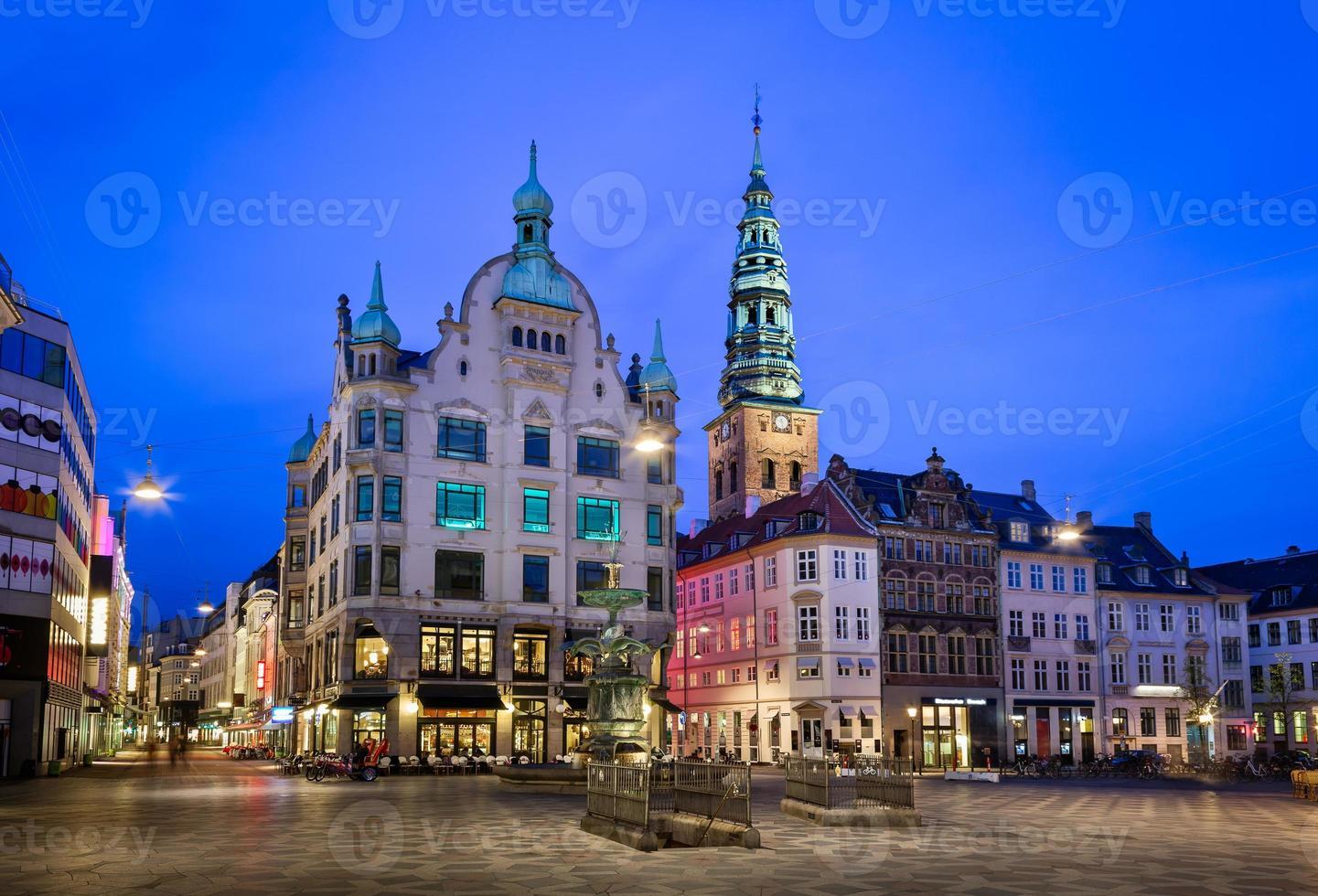 Amagertorv Platz und Storchbrunnen in der Altstadt foto