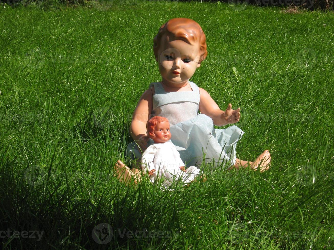 Puppen genießen die Sonne im Gras foto