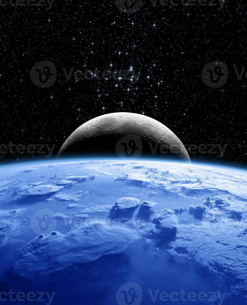 Erde und Mond in der Nacht foto