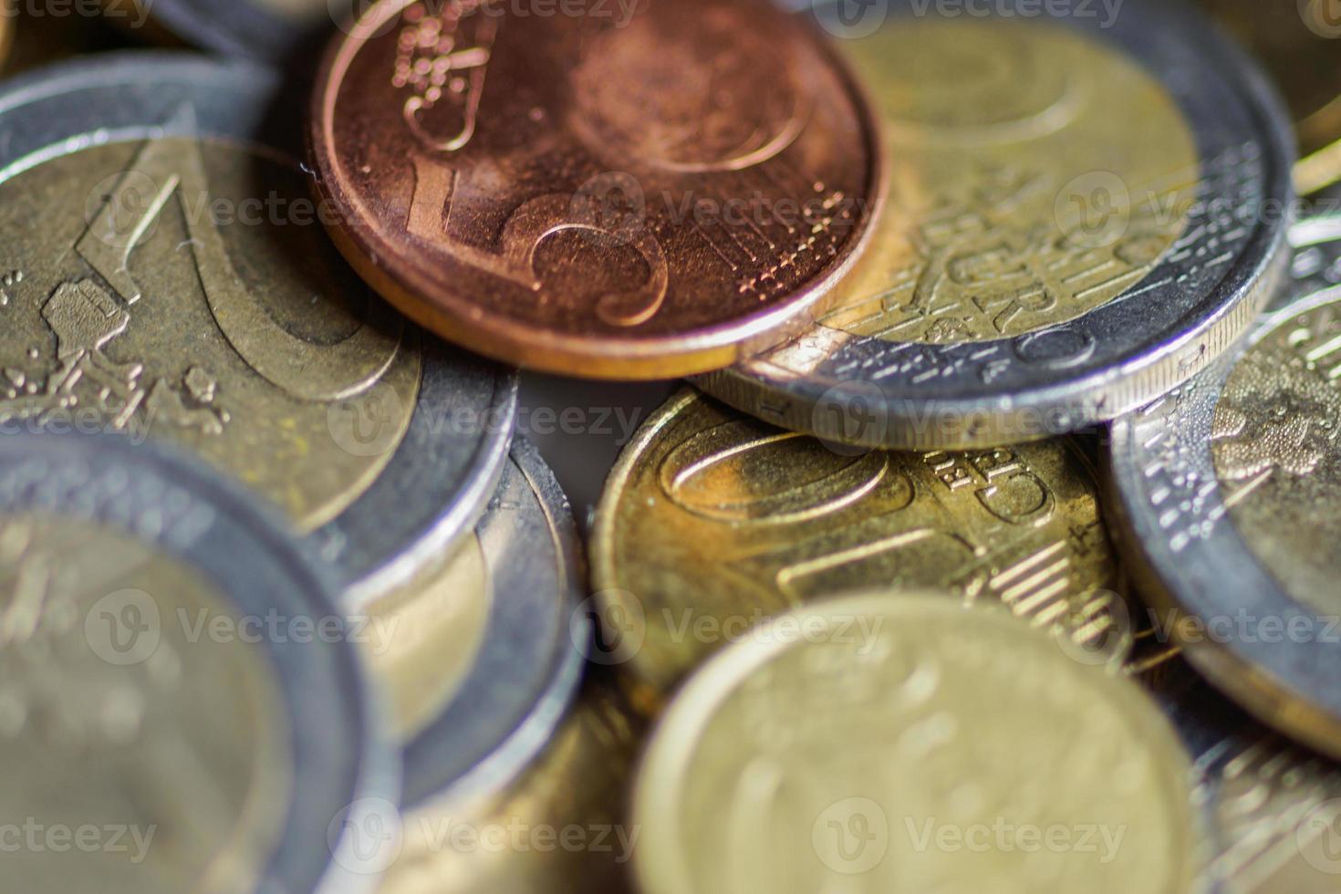 Euro prägt Geld. Makro-Hintergrund. foto