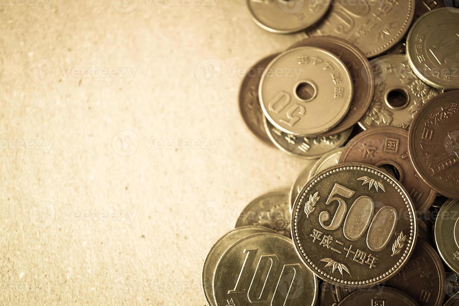 Yen Münzen für Geld Konzept Hintergrund foto