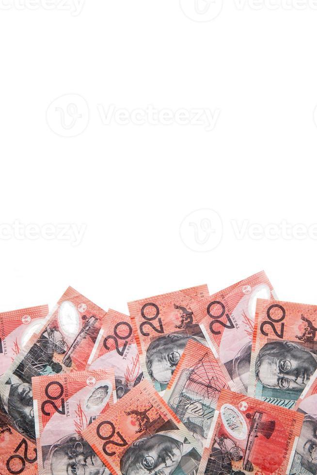 australische zwanzig Dollar ($ 20) Banknoten auf einem weißen Hintergrund foto
