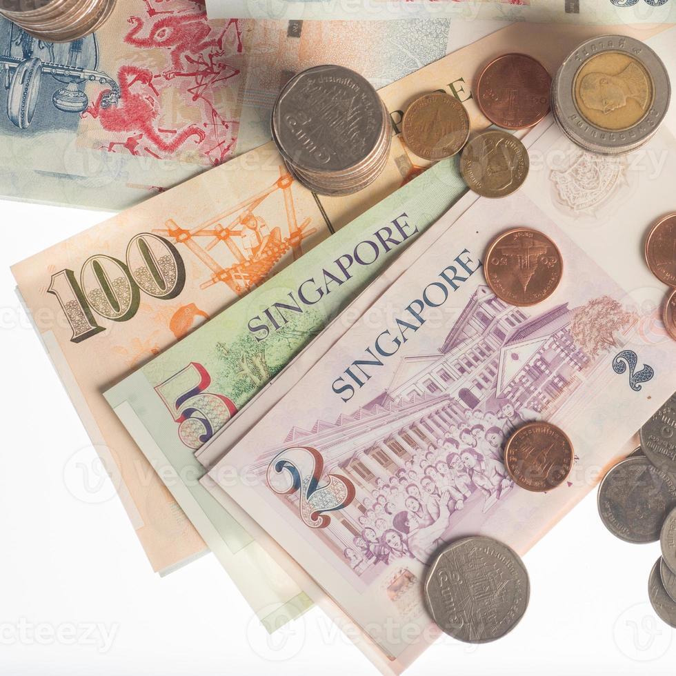Banknoten, Geld von Thailand und Singapur foto