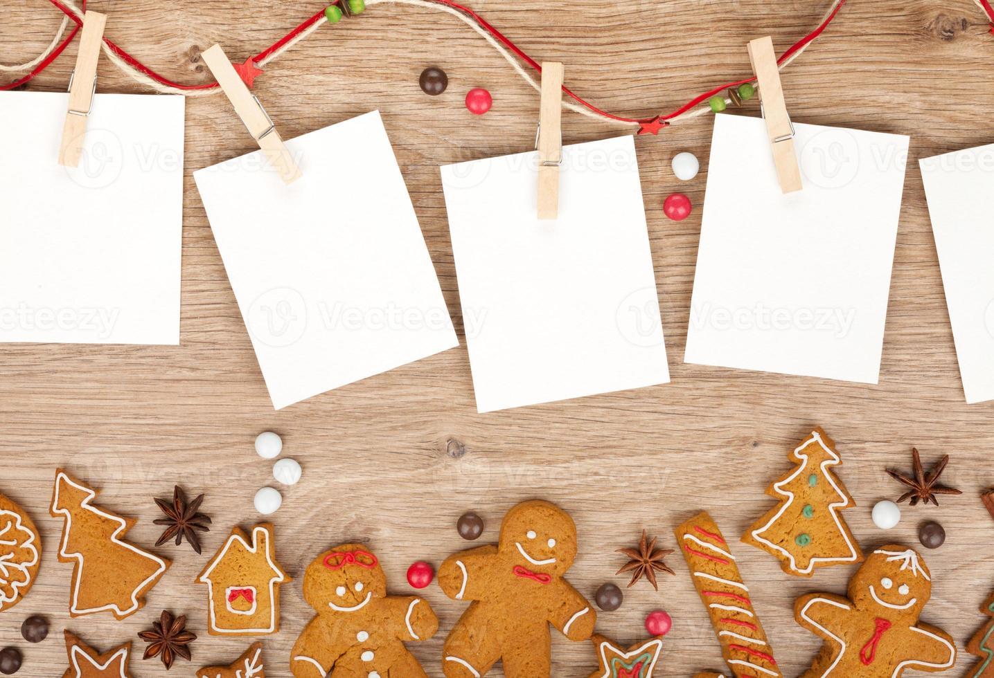 leere Weihnachtsbilderrahmen foto