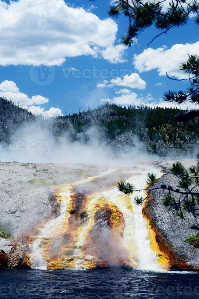 Vertikal-Feuerloch-Geysir, der in einen Fluss in Yellowstone läuft. foto
