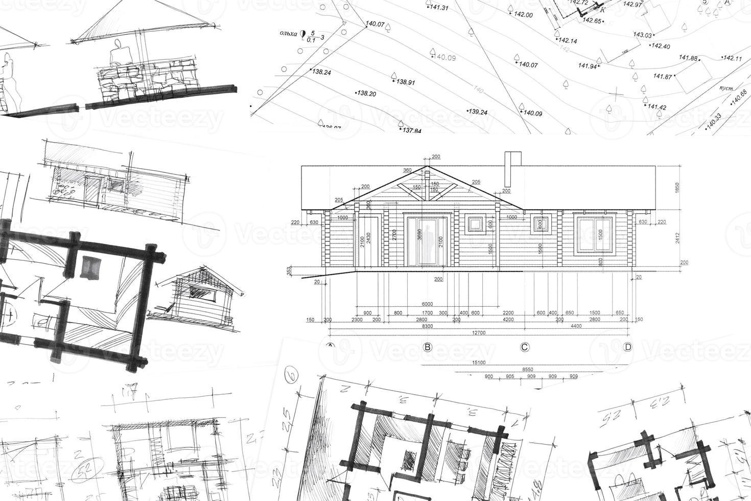 architektonische Handzeichnungen Hintergrund foto