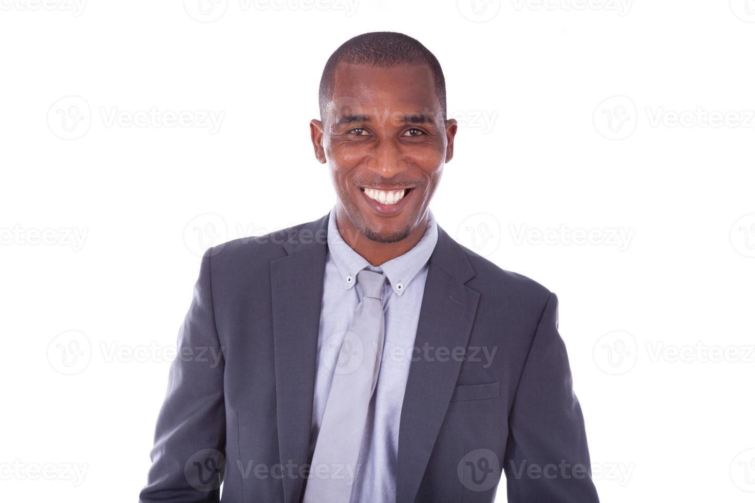Afroamerikaner-Geschäftsmann über weißem Hintergrund - schwarzer Mensch foto
