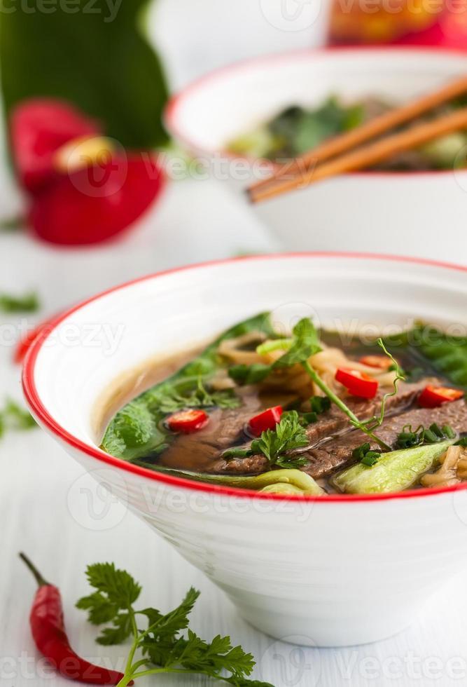 würzige asiatische Rindfleischsuppe foto