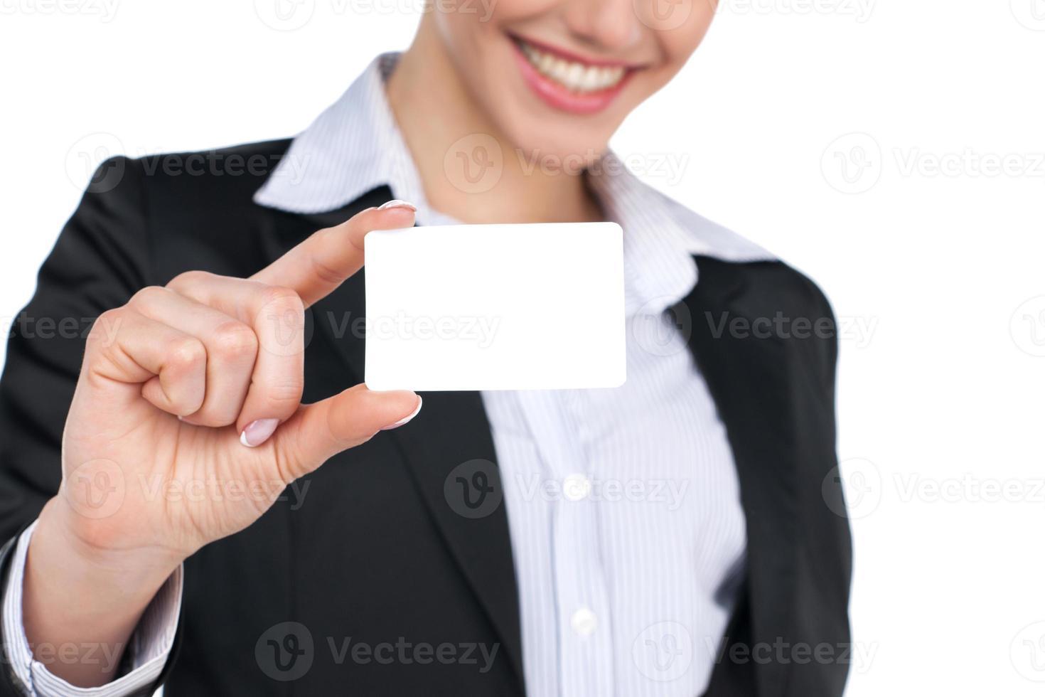 Zeichen zeigend - Visitenkartenfrau foto