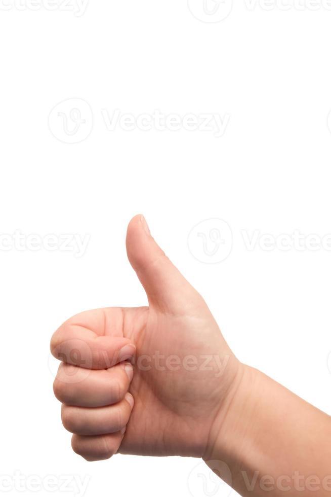 Daumen hoch! positives Handzeichen für Ja / OK. foto