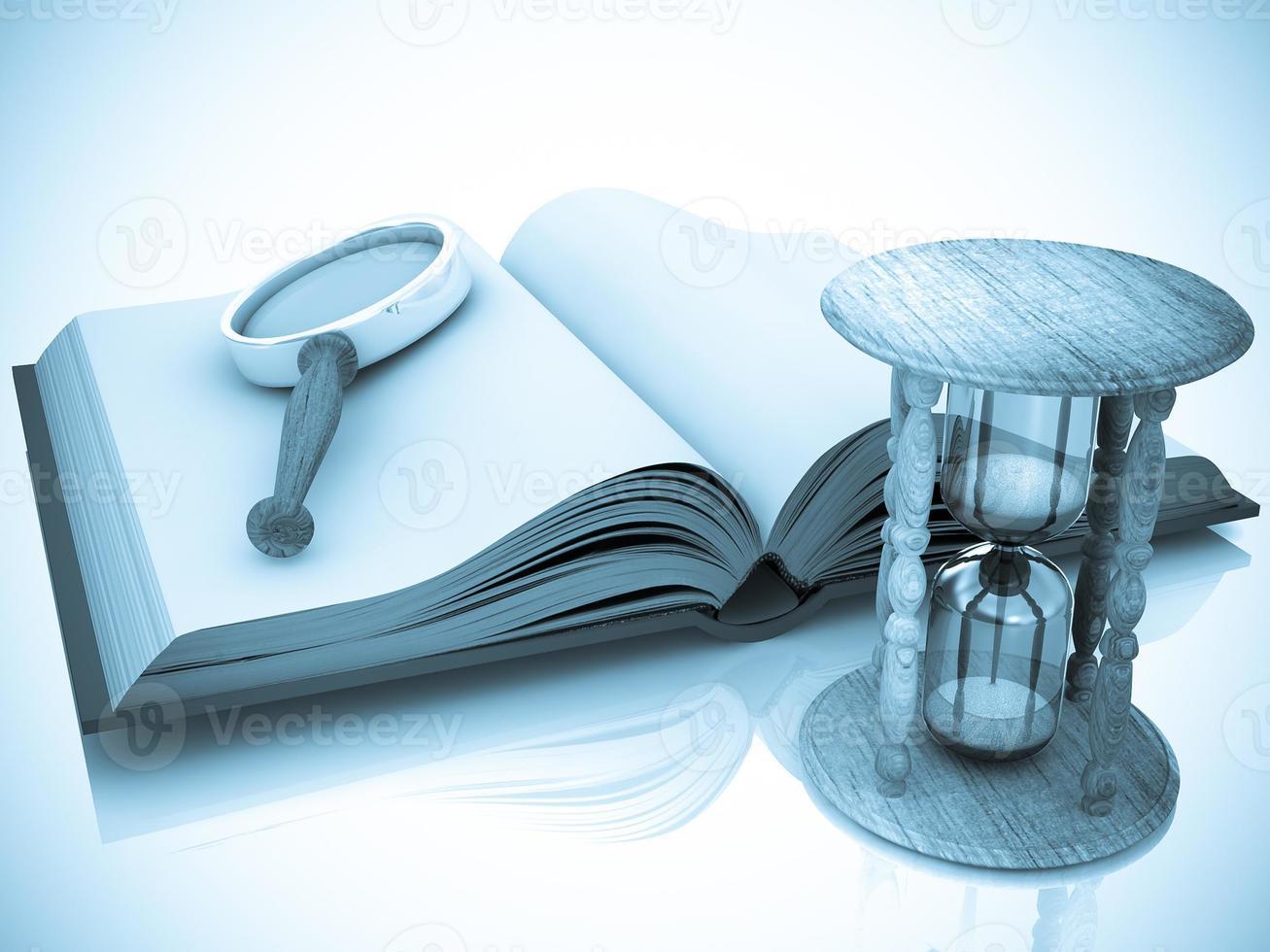offenes Buch mit Sanduhr und Lupe foto