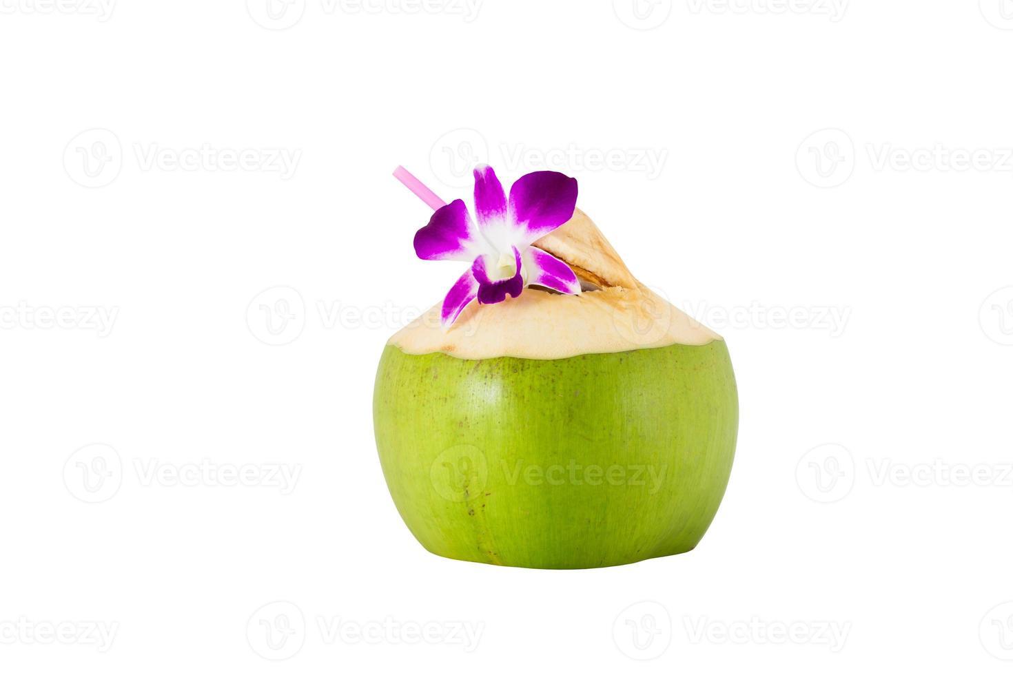 Kokosnuss mit Trinkhalm foto