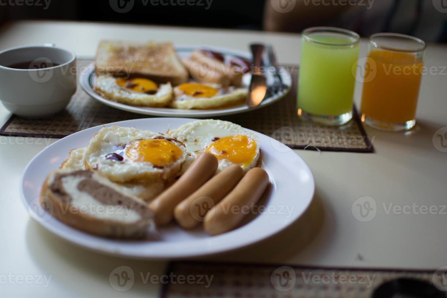 Frühstück Speisen und Getränke foto