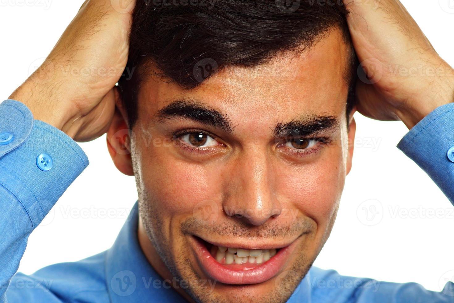 trauriger und verzweifelter Geschäftsmann foto
