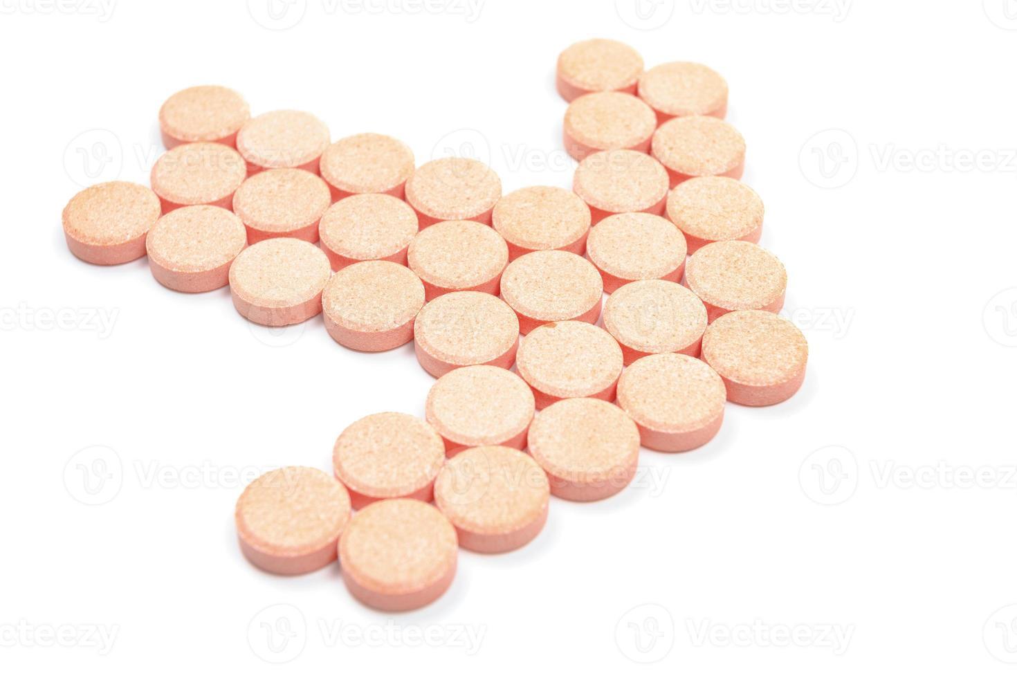 Form der Tablette, ein Zeiger Richtungen. auf weißem Hintergrund foto