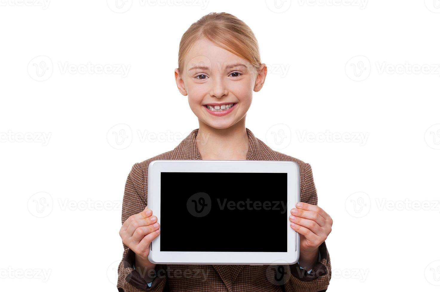 Kopieren Sie Platz auf ihrem Tablet. foto