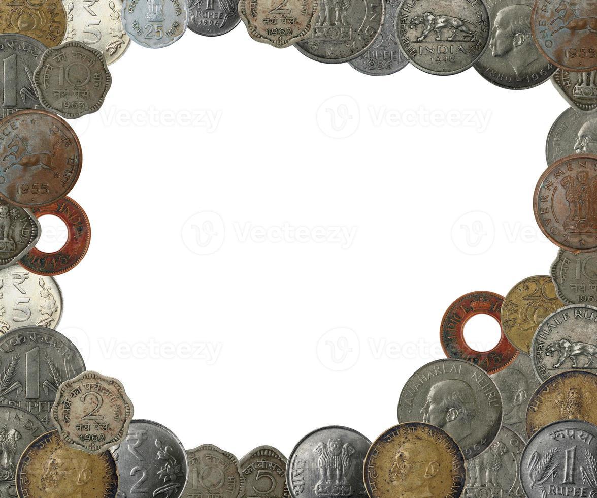 indische Münzen als Rahmenrand mit Kopierraum foto