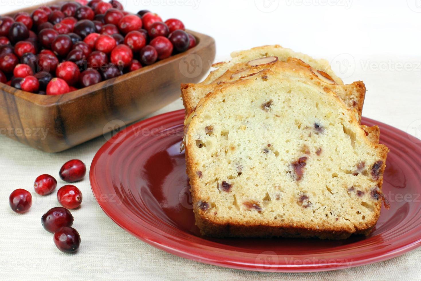 Cranberry Mandel Pfund Kuchen mit Kopie Platz. foto