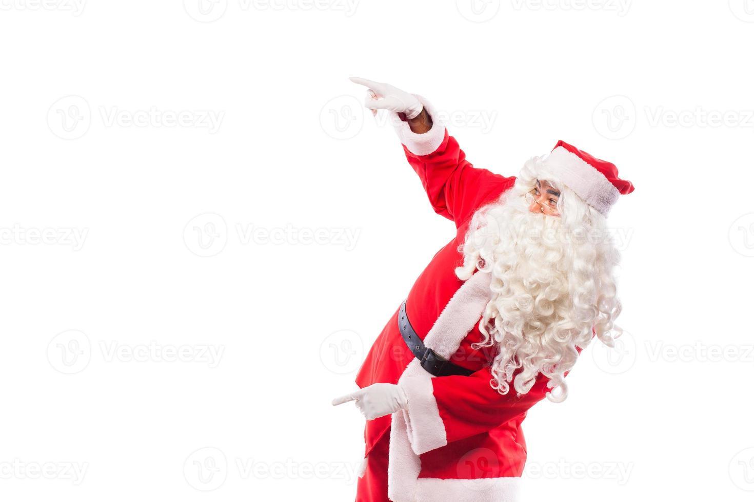 Weihnachtsmann mit auf weiß, mit Kopierraum foto