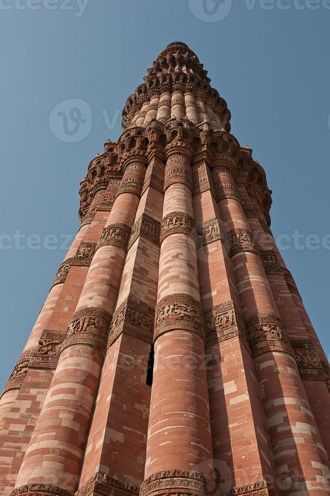 Qutub Minar aus nächster Nähe foto