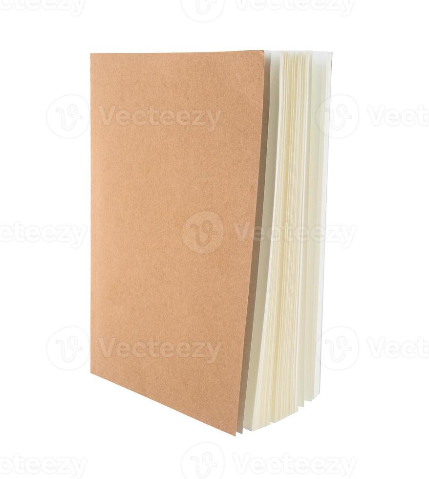 Notizbuchabdeckung Holz auf weißem Hintergrund foto