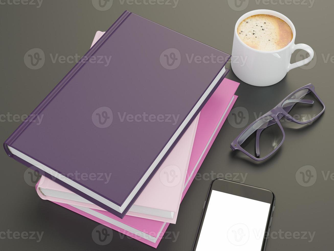 leere Farbbuchmodellvorlage auf schwarzem Hintergrund foto