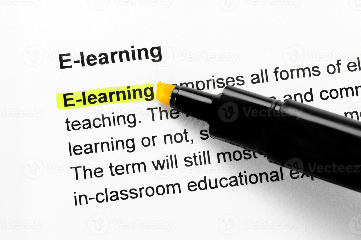 E-Learning-Text gelb hervorgehoben foto