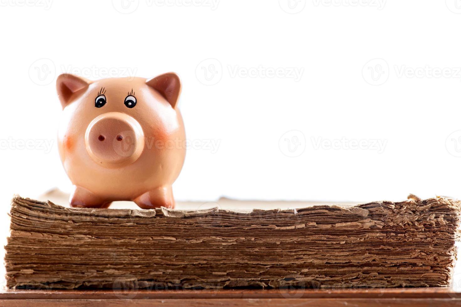 Sparschwein auf einem alten Buch foto
