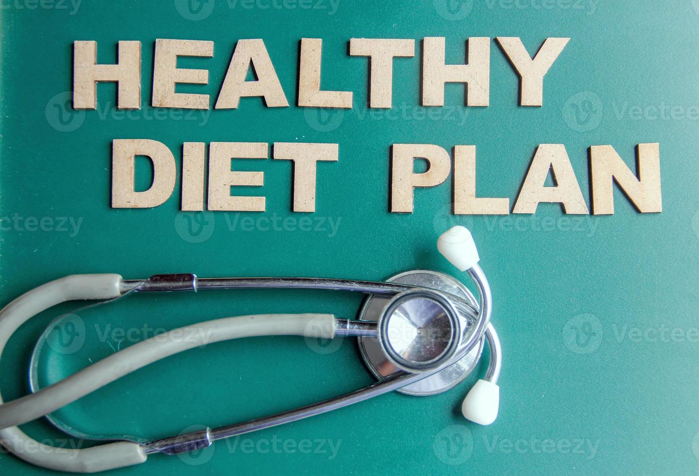 Retro-gestylter Wortgesunder Ernährungsplan, geschrieben mit Alphabeten foto