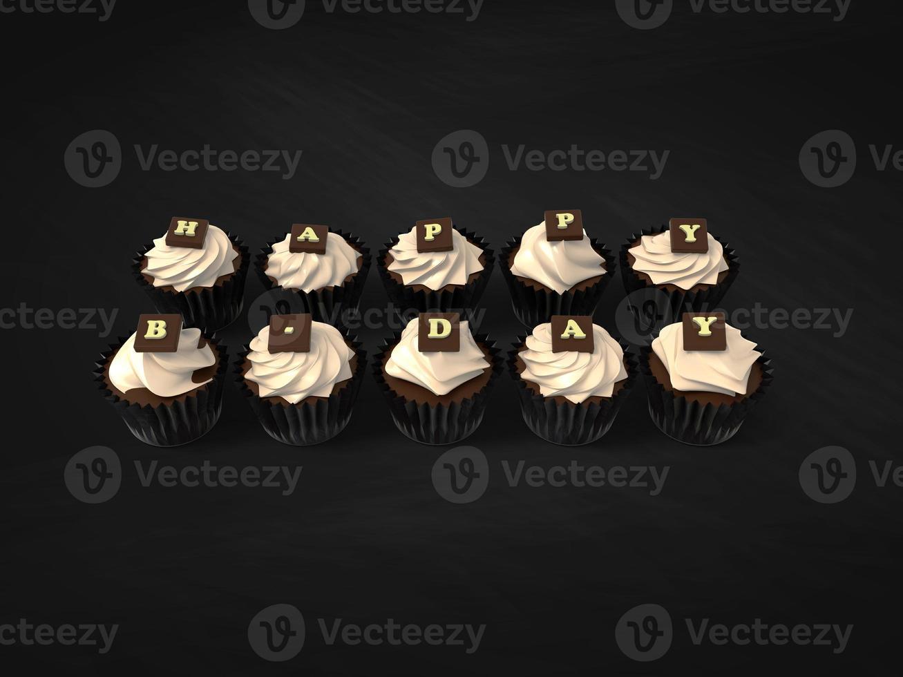 Alles Gute zum Geburtstag Cupcakes auf Tafel Hintergrund foto