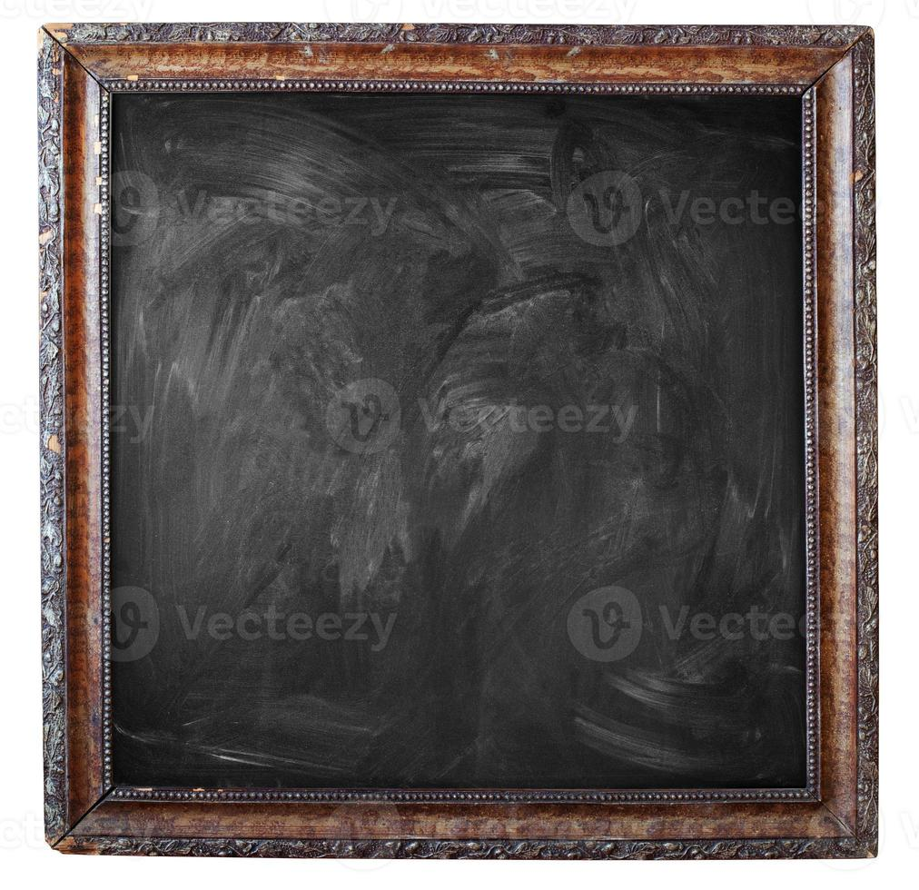schwarze leere schmutzige Tafel mit Vintage-Rahmen foto