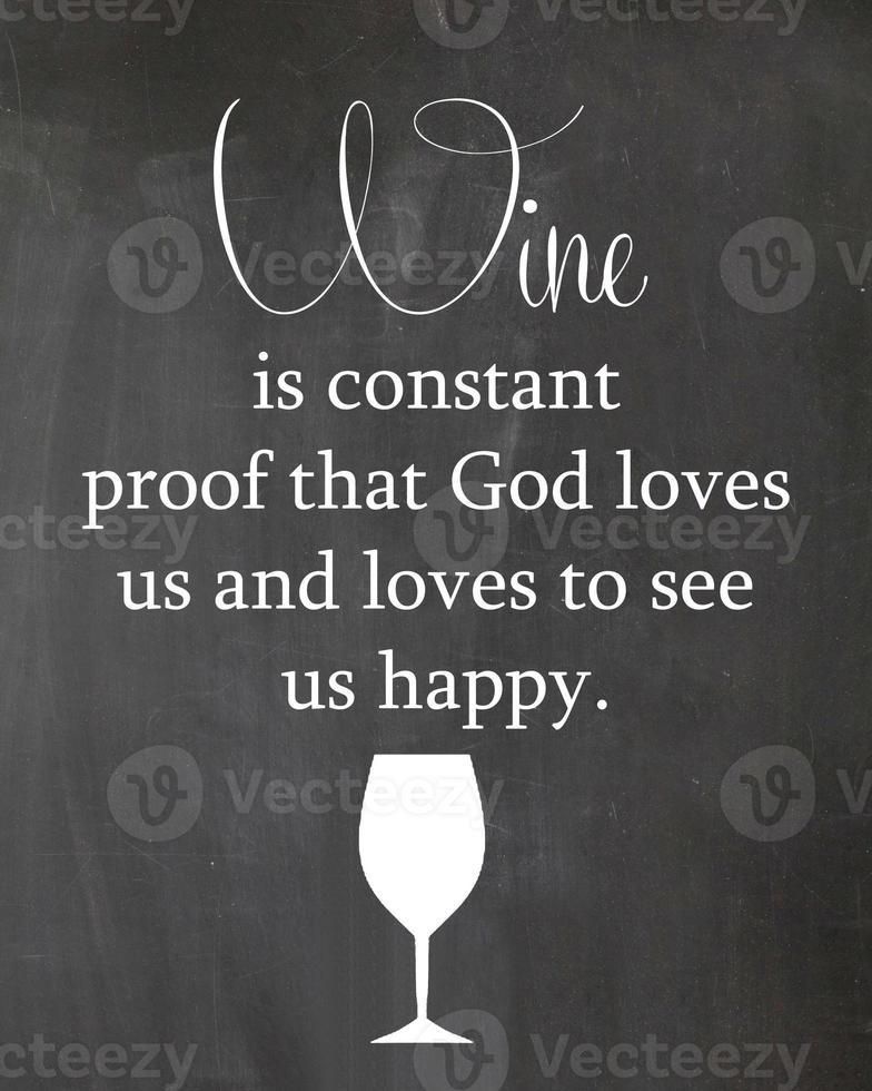 Wein und Gott Küche Tafel Zitat foto