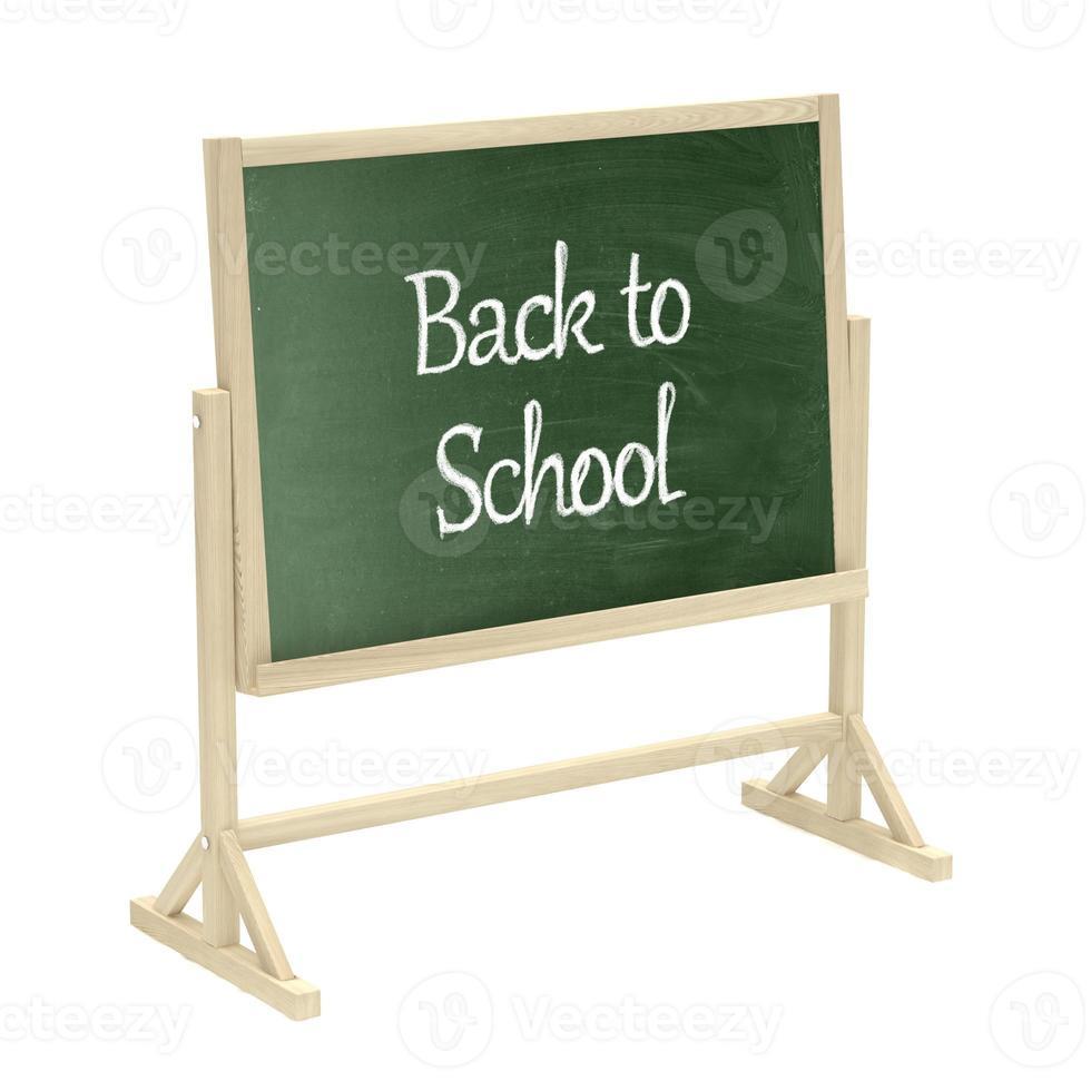 Zurück zum Schulkonzept. Tafel, Tafel lokalisiert auf Weiß foto