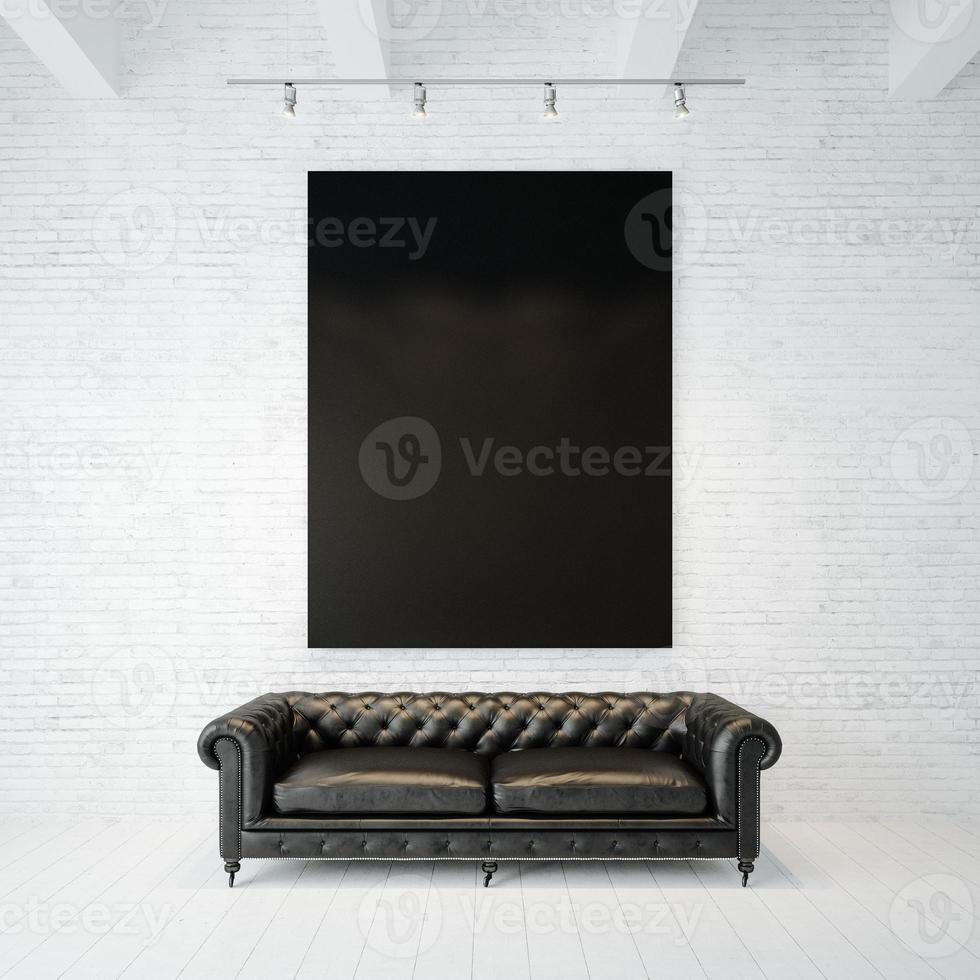 Foto der schwarzen leeren Leinwand auf dem Backsteinmauerhintergrund