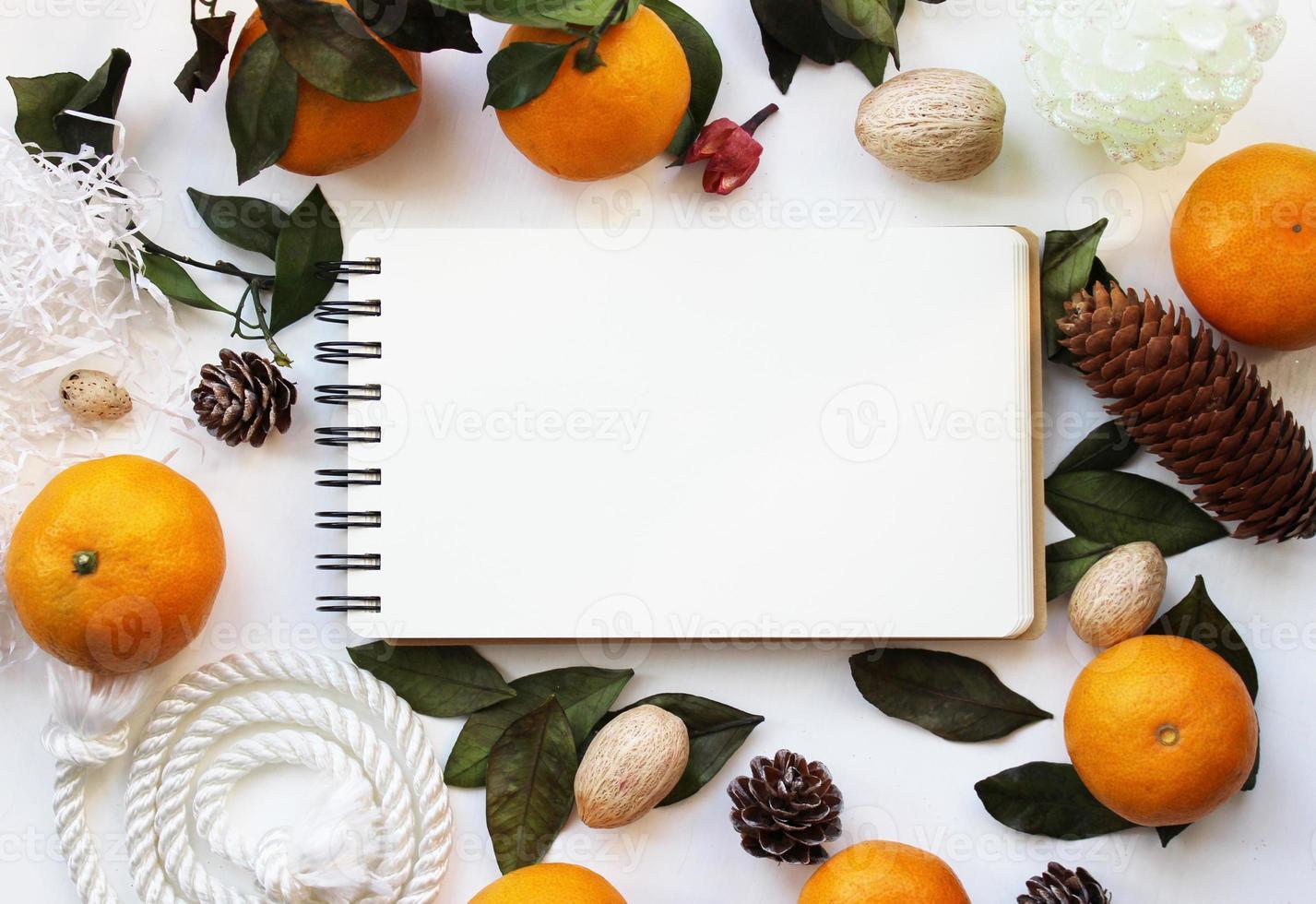 Modellkonzept mit Mandarinen und Tannenzapfen foto