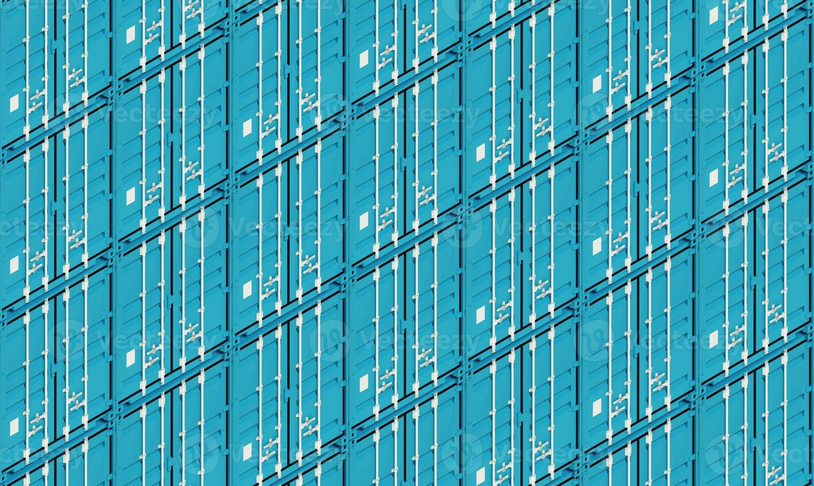 blaue Metallfrachtversandbehälter, 3d Illustration foto