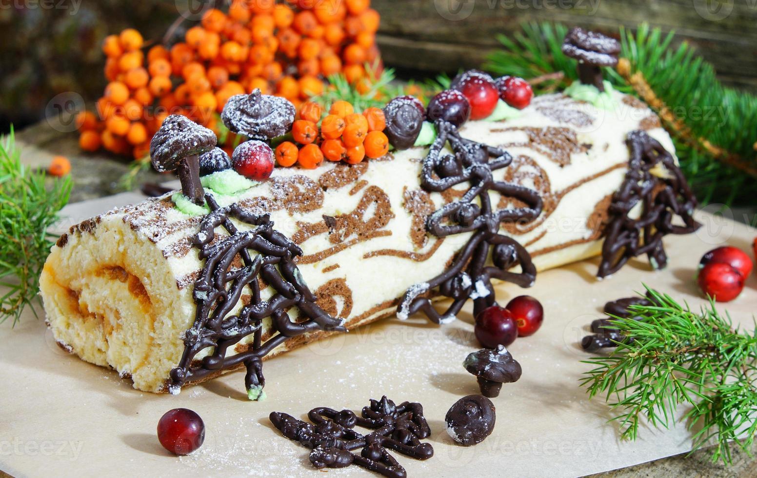Weihnachten Yule Log oder Buche de Noel foto