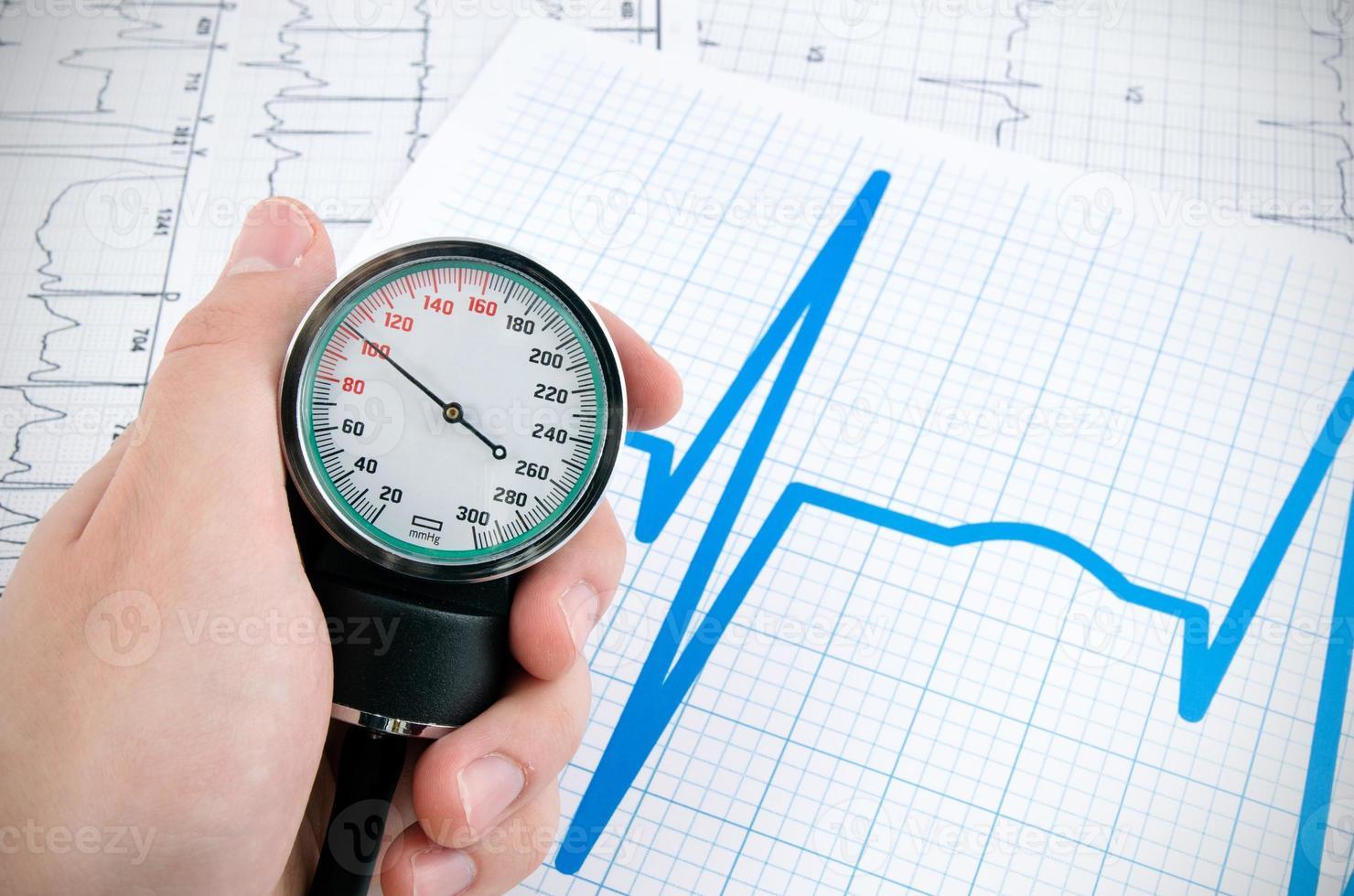 Blutdruckmessgerät auf medizinischem Hintergrund foto