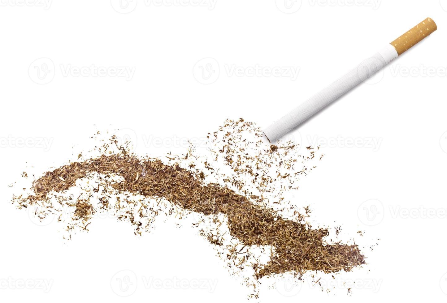 Zigarette und Tabak in Form von Kuba (Serie) foto