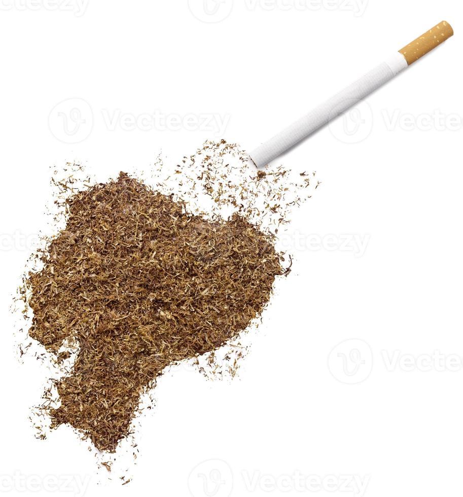 Zigarette und Tabak in Ecuador-Form (Serie) foto