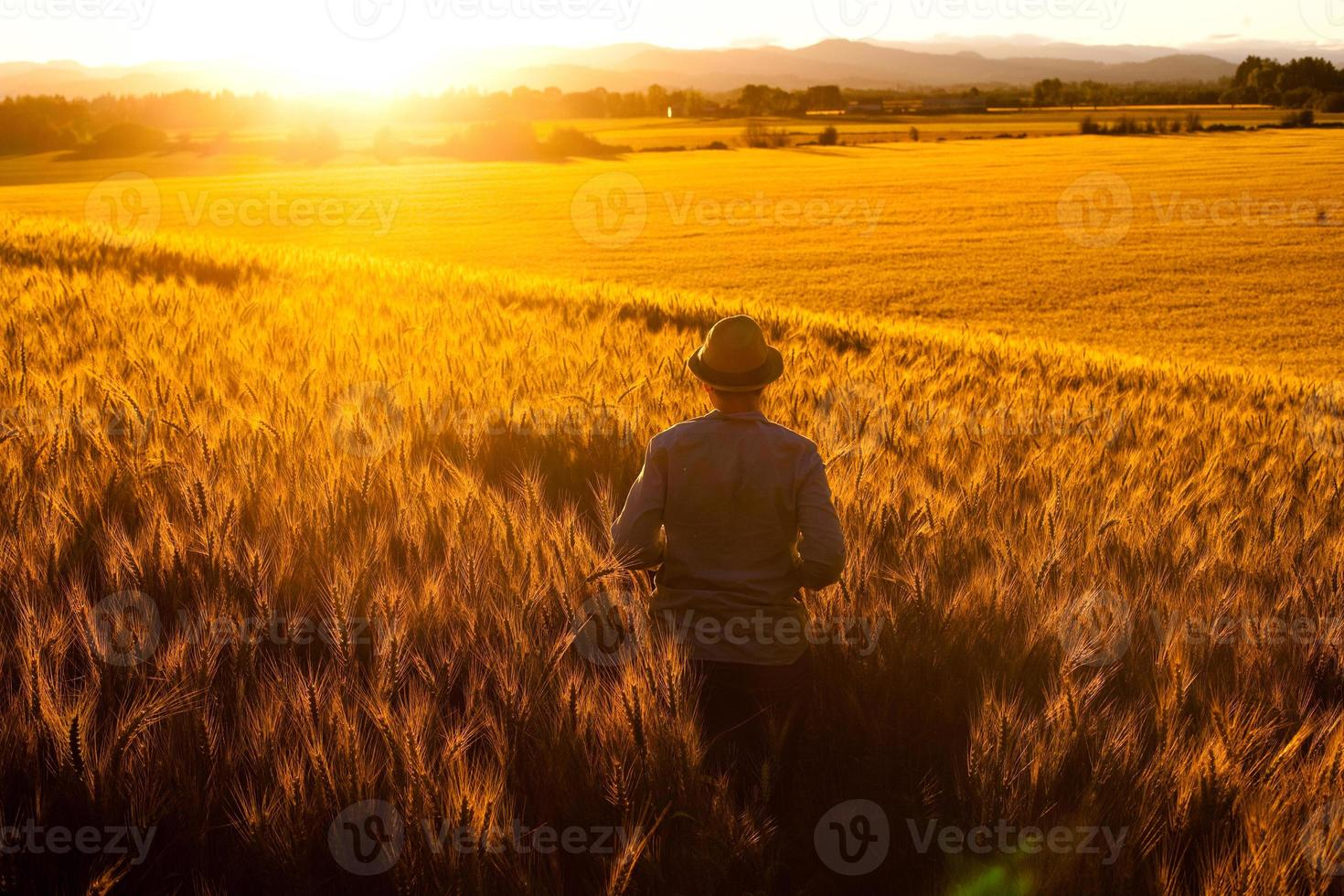 Feld stehender junger erwachsener Mann beobachtet Sonnenuntergang in Frieden foto