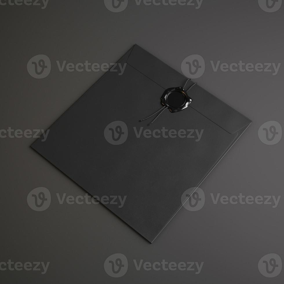 schwarzer quadratischer Umschlag foto
