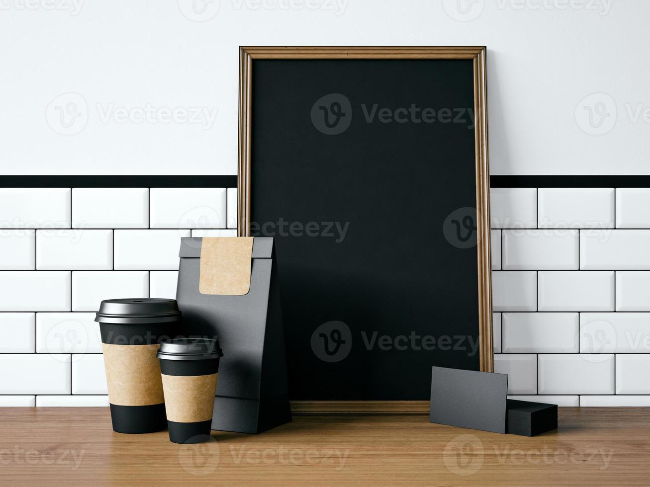 schwarzes Plakat auf Tisch mit leeren Elementen. 3D-Rendering foto
