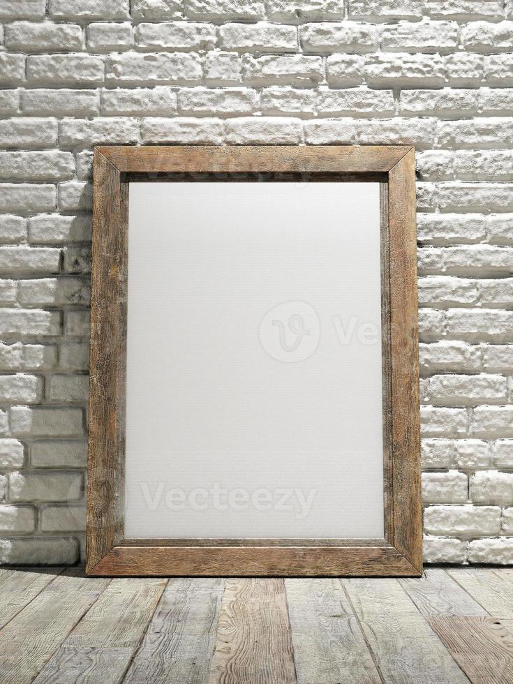 nterior eith Rahmenplakathintergrund, weiße Backsteinmauer foto