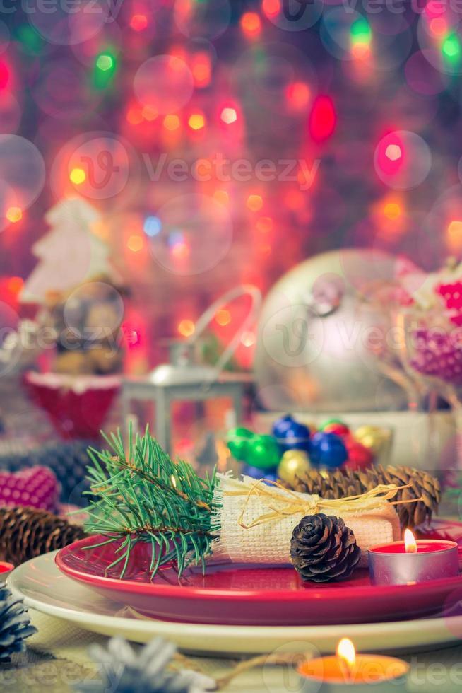 Weihnachten Weihnachten Vorabend Tischbrett Einstellung foto