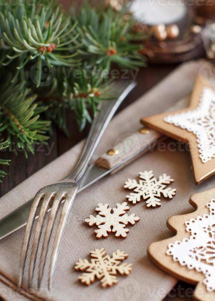 rustikales Weihnachtsgedeck foto